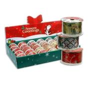 4 Rolls 3yd Christmas Gift Wrap Organza Ribbons - Assorted