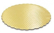 4pack Elegant 25cm Round Gold Foil Scalloped Decorative Cake Pads