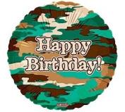 """""""Happy Birthday"""" Camo Brown Green Tan 46cm Balloon Mylar"""