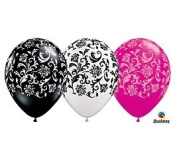 (12) 28cm Damask Patterned Black, White & Pink Latex Balloons Party Decor