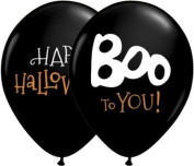 Qualatex Boo To You 28cm Round Balloons, Onyx Black - Pack of 20