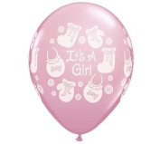 It's a Girl Buttons & Bows Latex Balloons Qualatex 28cm 25 Per Pack