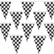 Black and White Checker 100 Ft Pennant Stringer w/48 Large Flags by Pudgy Pedro's