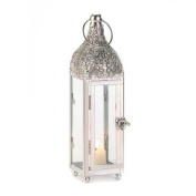 Six Tall Ornate Silver & Glass Candle Lantern Wedding Party Centrepieces