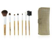 Findingcolor 7pcs Yellow & Black Plaid Make-up Brush Set