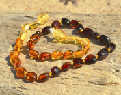 Multicoloured beans shape Baltic Amber teething necklace for babies