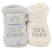 OFFERS Pack of 2 pairs of socks '50% Mom/ 50% Dad' - French Quality Brand