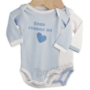 OFFERS Pack of 2 baby bodysuits 'Handsome Baby boy' - French Quality Brand
