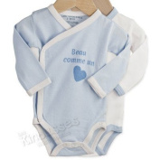OFFERS Pack of 2 baby cross over bodysuits 'Handsome Baby boy' - French Quality Brand