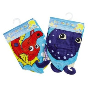 Cute Velour Hooded Towel With Printed Seahorse Design By Soft Touch
