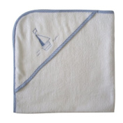 Powell Craft Boat Baby Boys Hooded Towel - White with embroidered blue boat. A great new baby gift!