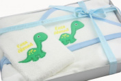 TinyGemz Personalised Baby Boy Embroidered Hooded Towel & Wash Cloth Gift Set Dinosaur - Baby Blue