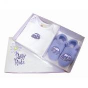 Daisy Roots Gift Set - Blue Fleece Slippers & Matching T-Shirt