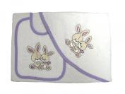 Sponge Set - Les Bébés d'Elyséa - 2 Rabbits - Purple - French bed linen/ French baby clothes