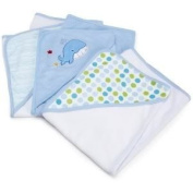 Spasilk 3 Pack Soft Terry Hooded Towel Set (Keep Baby Dry And Warm From Head To Toe) - Blue Baby / Child / Infant / Kid