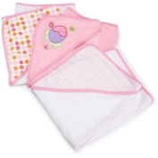 Spasilk 3 Pack Soft Terry Hooded Towel Set (Keep Baby Dry And Warm From Head To Toe) - Pink Baby / Child / Infant / Kid