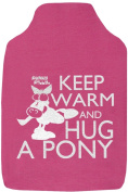 Funky Filly® Girls Hottie 'Keep Warm And Hug A Pony' Cute Soft Cotton Hot Water Bottle Cover Pink, Size 35 cm x 24 cm