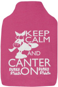 Funky Filly® Pony Girls Hottie 'Keep Calm and Canter On' Cute Soft Cotton Hot Water Bottle Cover Pink, Size 35 cm x 24 cm