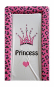 Girls Deluxe PVC Change/Changing Mat - FUCHSIA PINK LEOAPARD PRINT CROWN PRINCESS