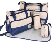 5pcs Baby Nappy Changing Bags Set/Blue Baby Nappy Bags Set by M F Limited