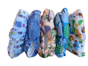 Famicheer Patterned Cloth Nappies (including 2 inserts each) - Set of 5 Little Boys / unisex theme
