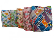 Famicheer Patterned Cloth Nappies (including 2 inserts each) - Set of 5 Little Girls / unisex theme