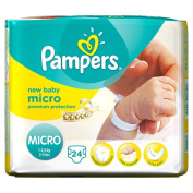 Pampers New Baby Size 0 (Micro) Carry Pack 24 Nappies