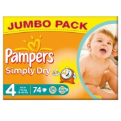 Pampers Simply Dry Size 4 (7-18kg) Jumbo Box Maxi 74 per pack