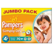 Pampers Simply Dry Size 4+ (9-20kg) Jumbo Box Maxi Plus 70 per pack