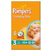 Pampers Simply Dry Size 3 (4-9kg) Essential Pack Midi 2x45 per pack