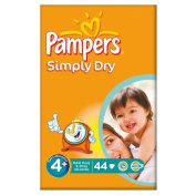 Pampers Simply Dry Size 4+ (9-20kg) Large Pack Maxi Plus 2x44 per pack