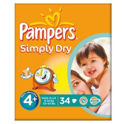 Pampers Simply Dry Size 4+ (9-20kg) Essential Pack Maxi Plus 3x34 per pack