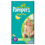 Pampers Baby Dry Size 4+ (9-20kg) Large Pack Maxi Plus 2x56 per pack