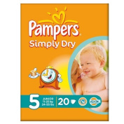 Pampers Simply Dry Size 5 (11-25kg) Carry Pack Junior 6x20 per pack