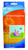 150 Pack of Fragranced Baby Nappy Bags with Easy Tie Handles