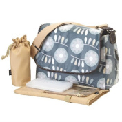 Oioi Messenger Baby Changing Bag - Slate Retro Circular