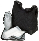 OiOi Diamond Quilt Hobo Baby Changing Bag Black with Metallic Silver Lining and Accessories