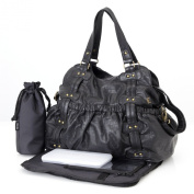 OiOi Changing Bag - The Tote - Black faux leather stud/belt
