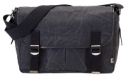 OiOi Man Black Crushed Waxed Canvas Satchel Baby Changing Bag with Cotton Pinstripe Lining and Accessories