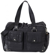 OiOi Black on Black Linear Carry All Baby Changing Bag with Nutmeg Lining and Accessories