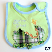 Colourful Baby World Newborn Baby Boy Cotton Blue Bibs Waterproof Cute- What's Up Little Gator.