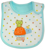 Baby Bib, SWEET BABY, Embroidered Detail, 100% Cotton, White, Blue, FULLY LINED INNER WATERPROOF LAYER