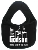 Image is Everything - I'm the Godson... future head of the family - Baby, Toddler, Feeding Bib, Black
