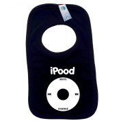 I POOD PULLOVER BABY BIBS - Doubled Layered - (Black) - 100% Cotton Baby pod ipood apple geek Toddler Perfect Gear Clothing Boy Girl Mum Dad Mummy Daddy Grow Gift Custom Present Birthday Christening play toy Cute - Machine Washable- by Fon ..