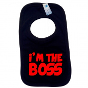 IM THE BOSS PULLOVER BABY BIBS - Doubled Layered - (Black) - 100% Cotton Baby Newborn Toddler Perfect Gear Clothing Boy Girl Mum Dad Mummy Daddy Grow Gift Custom Present Birthday Christening play toy Cute - Machine Washable- by Fonfella ..