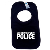 UNDERCOVER POLICE PULLOVER BABY BIBS - Doubled Layered - (Black) - 100% Cotton Baby Newborn Toddler Perfect Gear Clothing Boy Girl Mum Dad Mummy Daddy Grow Gift Custom Present Birthday Christening play toy Cute - Machine Washable- by Fonfe ..