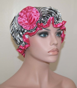 Stylish Waterproof Satin Shower Cap - Black Zebra Design - Young and Pretty