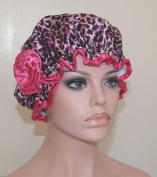 Stylish Waterproof Satin Shower Cap - Pink Leopard Design - Young and Pretty