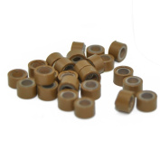Yiding 200 PCS 5mm Light Brown Colour Silicone Lined Micro Rings Links Beads Linkies for I Bonded Tipped Hair Extensions