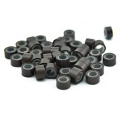 Yiding 200 PCS 5mm Medium Brown Colour Silicone Lined Micro Rings Links Beads Linkies for I Bonded Tipped Hair Extensions